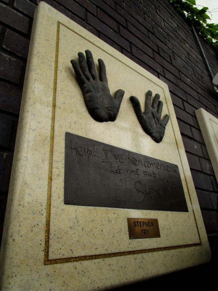 Cast of Stephen Fry's hands at the London Studios