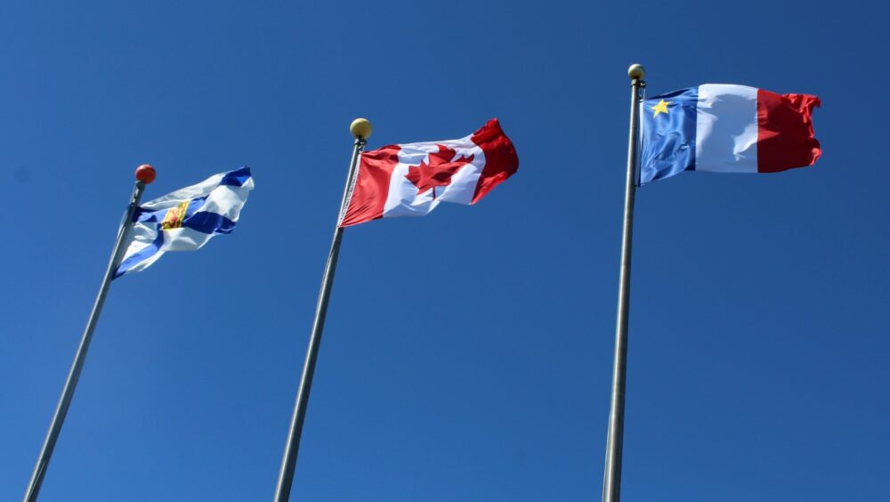 Nova Scotia flag, Canadian flag, Acadian flag