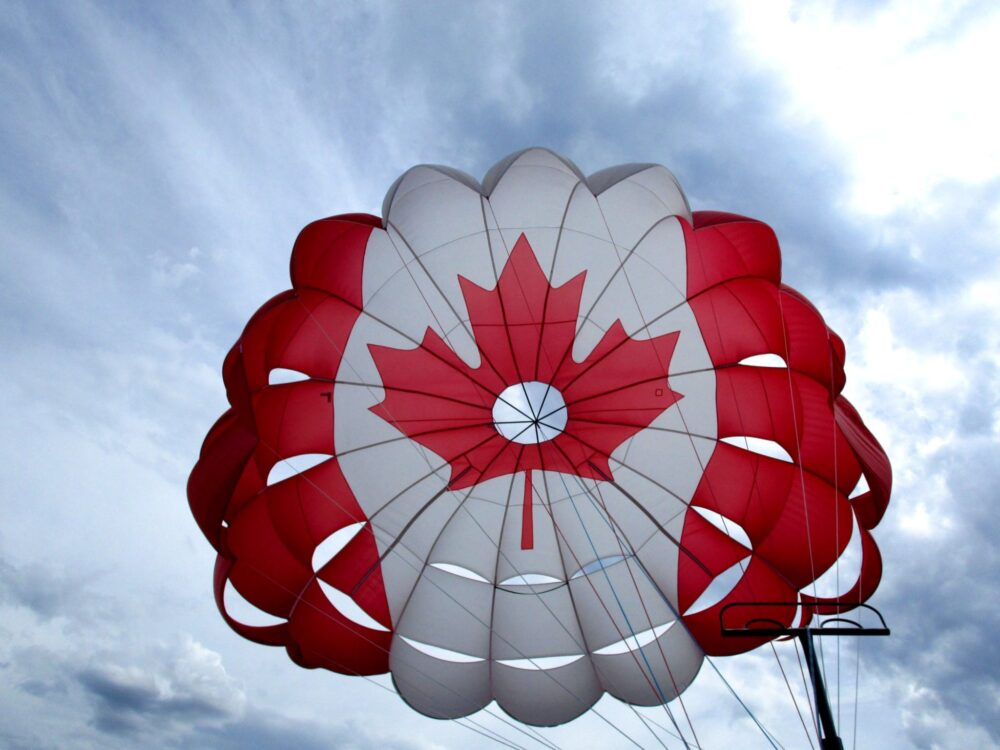 5 Reasons to Choose Canada for a Working Holiday-parasailing penticton canada flag summer