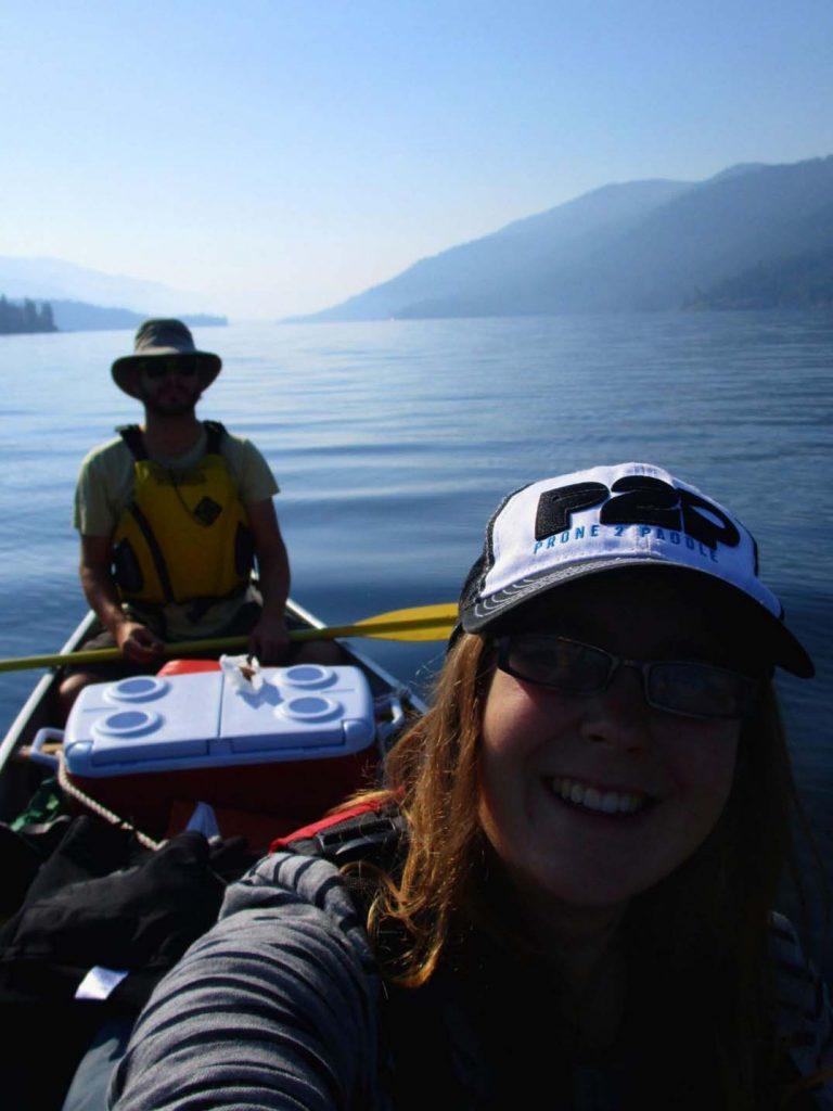 christina lake selfie canoe trip