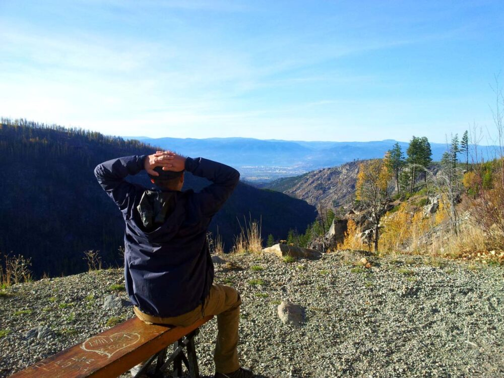 JR looking out to Myra Canyon views