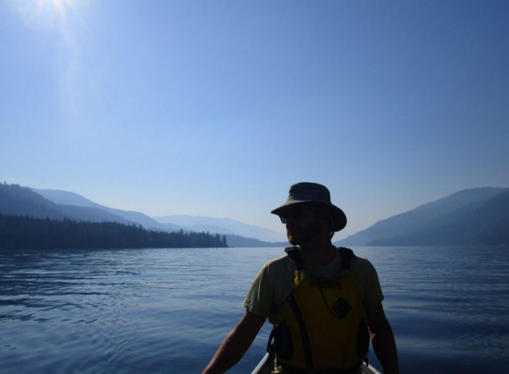 JR canoe paddling on Christina Lake on the way to Gladstone Provincial Park