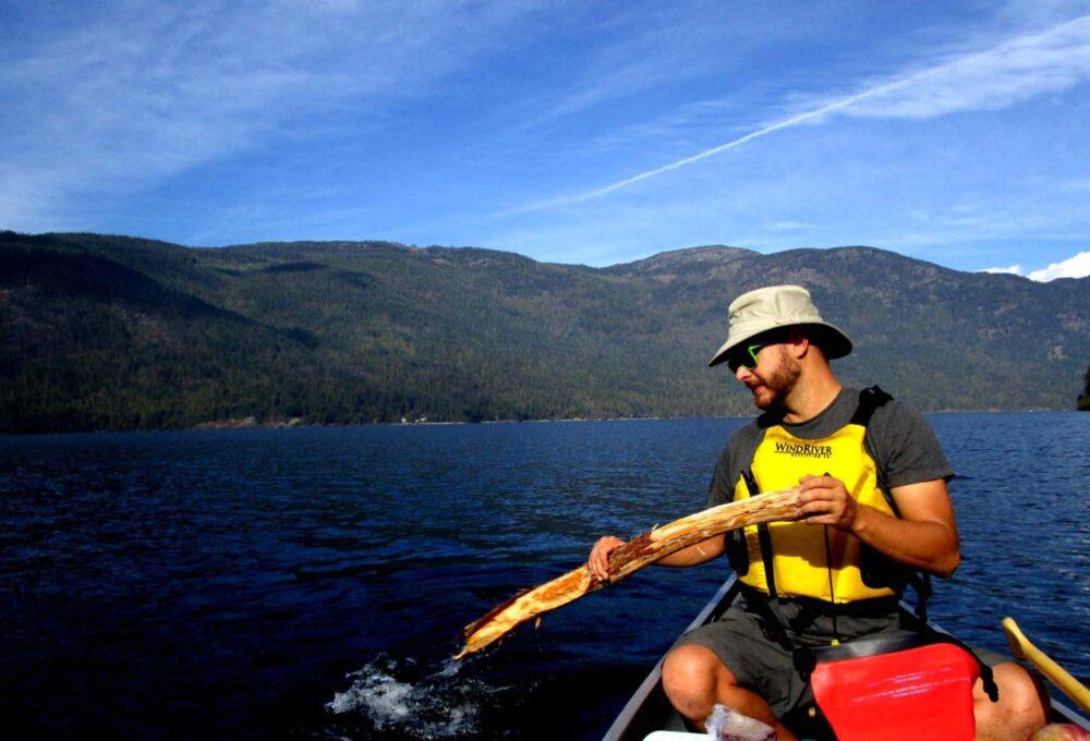 Paddling with one paddle on Christina Lake