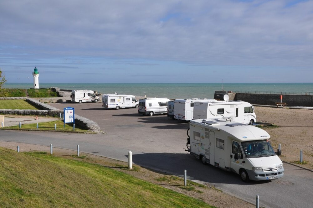 Camping cars parked at the French coast