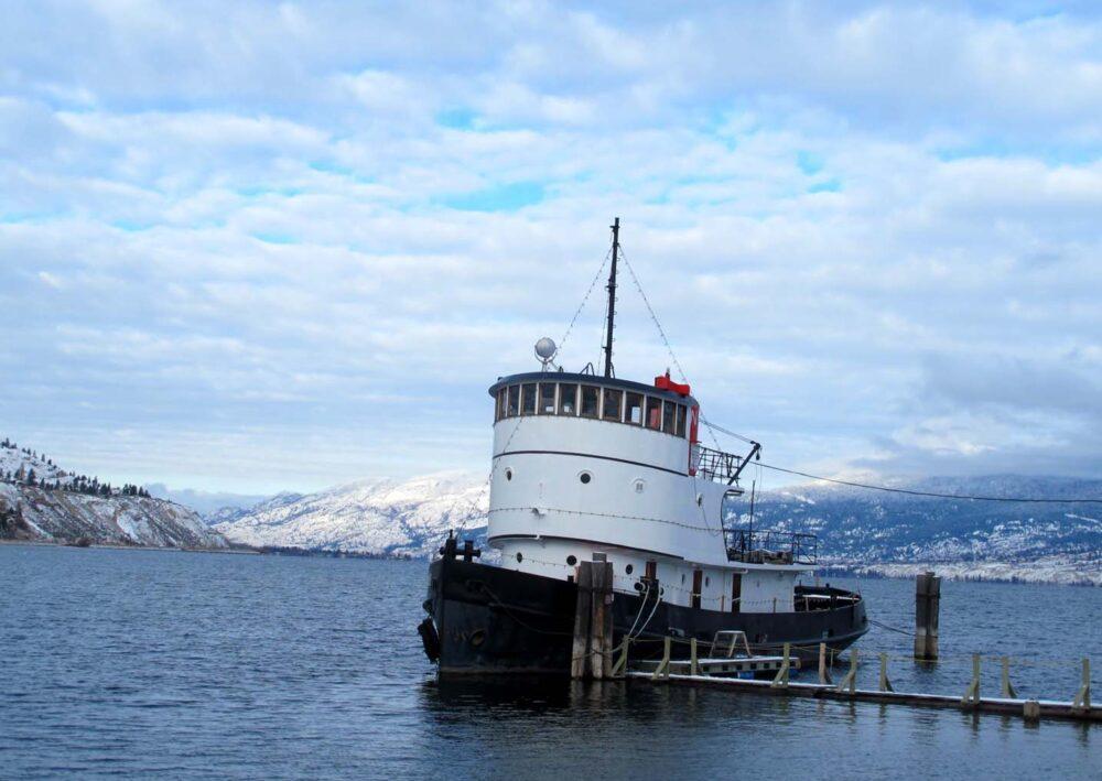 Boat resting in Okanagan Lake, Penticton