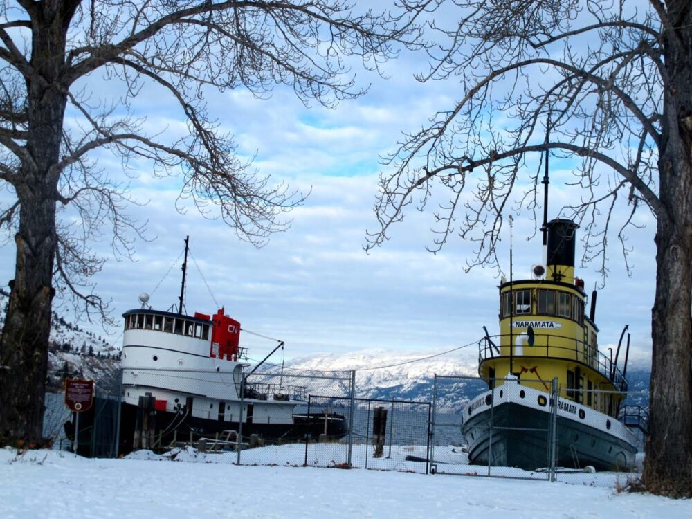 Penticton tug boats Okanagan Lake winter