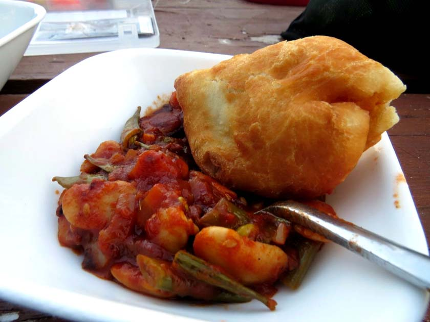 Bannock and tomato bean stew camping