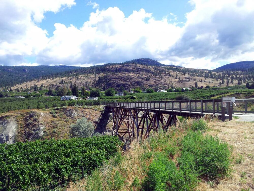 A railway trestle on the Kettle Valley Railway trail