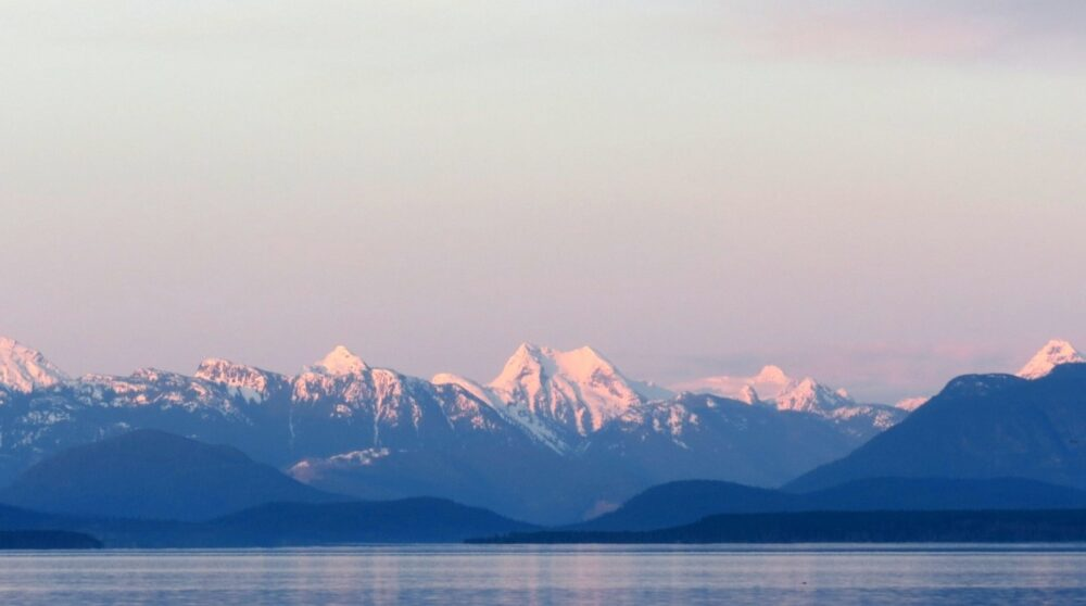 vancouver island view of coastal mountains bc