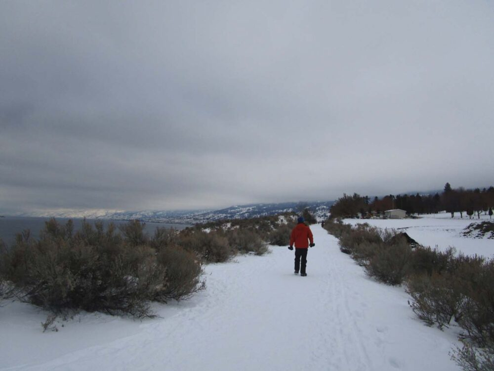 JR walking the KVR Trail in winter, snow on the ground