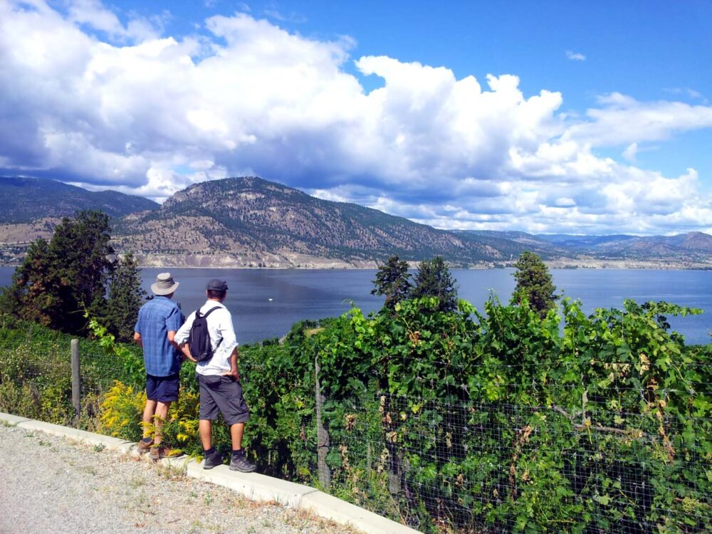 JR and Eugene looking out to Okanagan Lake from the KVR Trail