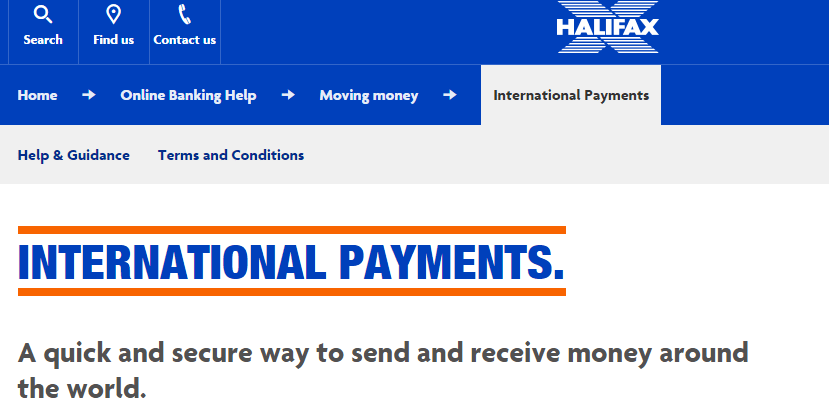 Halifax bank website screenshot with international payments info