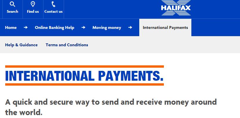 halifax international payments