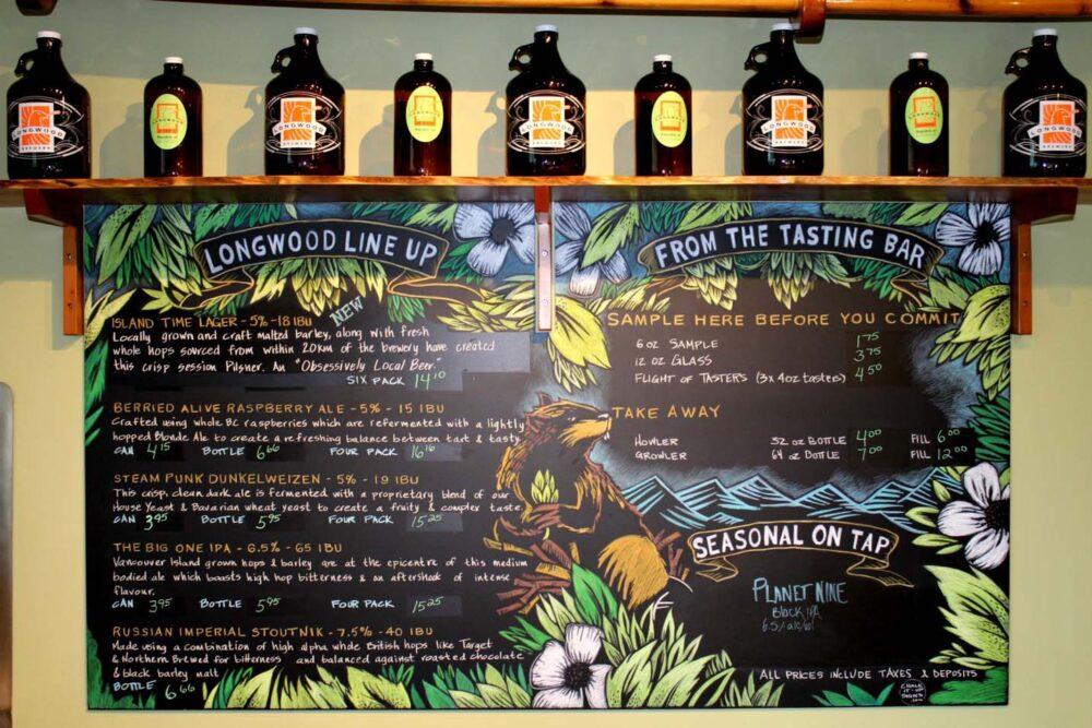 Blackboard with beer descriptions