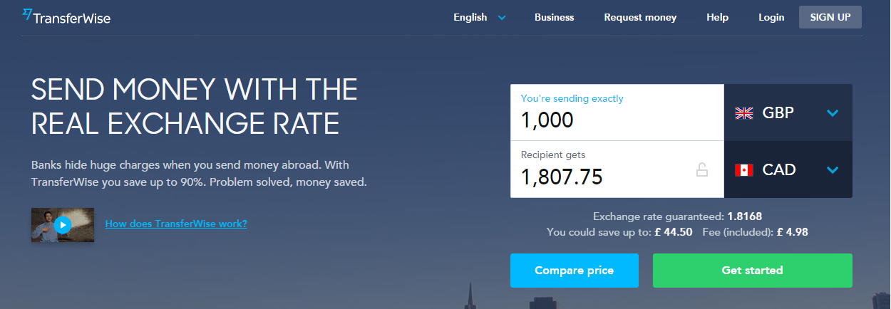 Screenshot from TransferWise's homepage