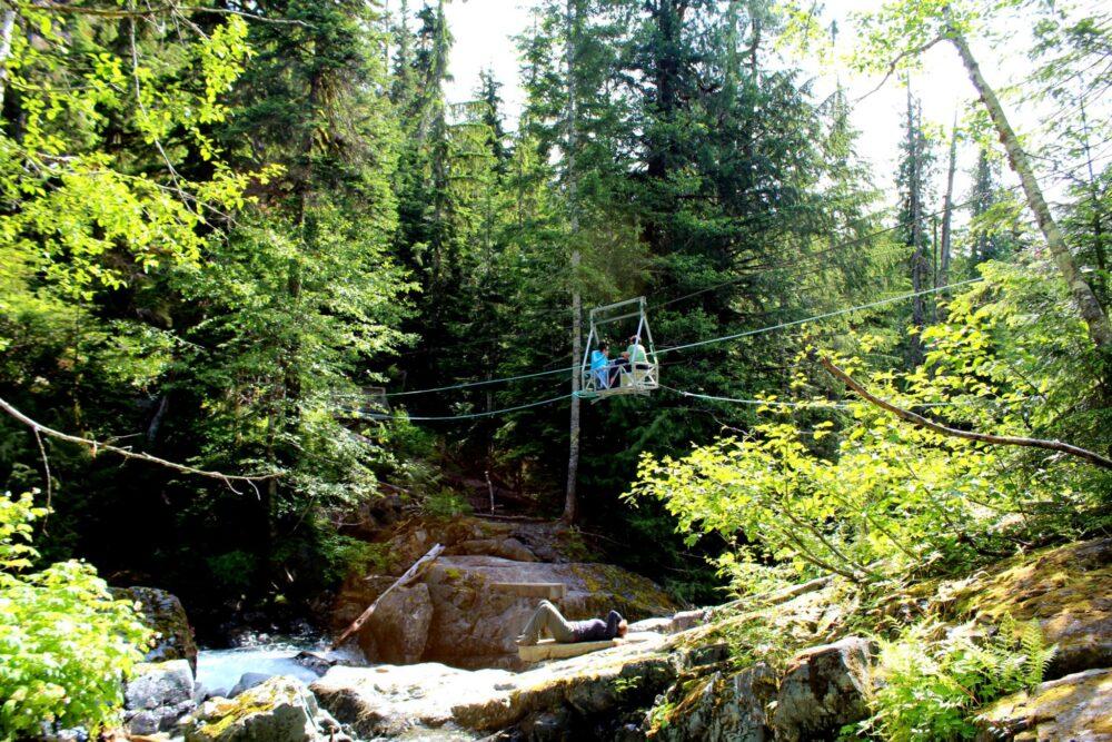 The cable car across the river on the Della Falls trail