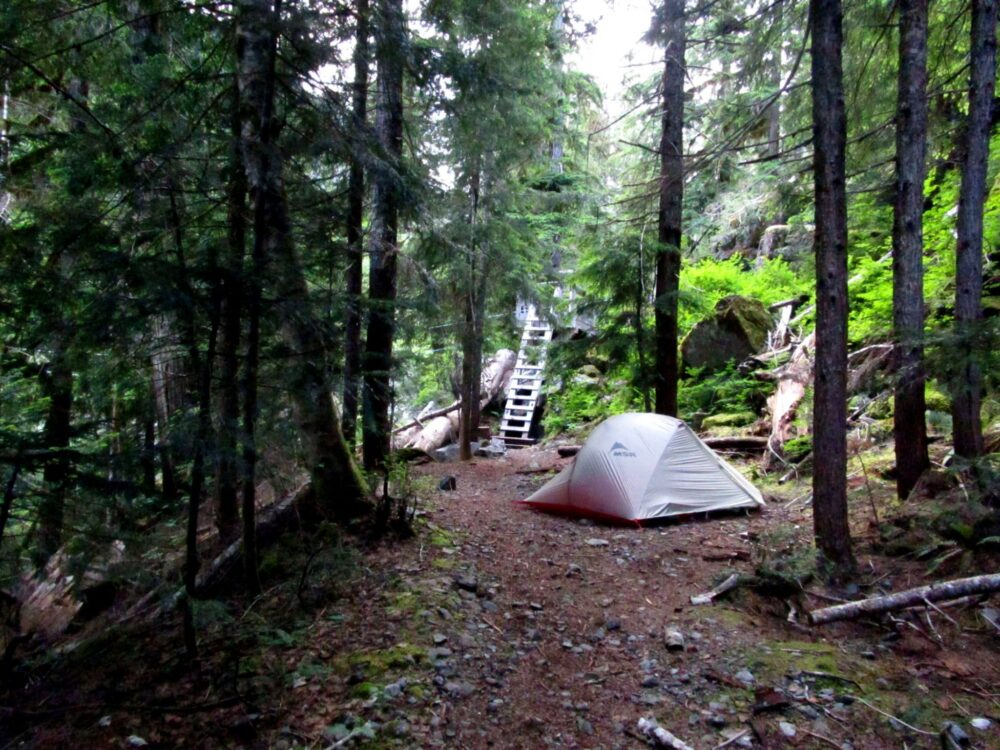 Our tent campsite by the cable car on the Della Falls trail