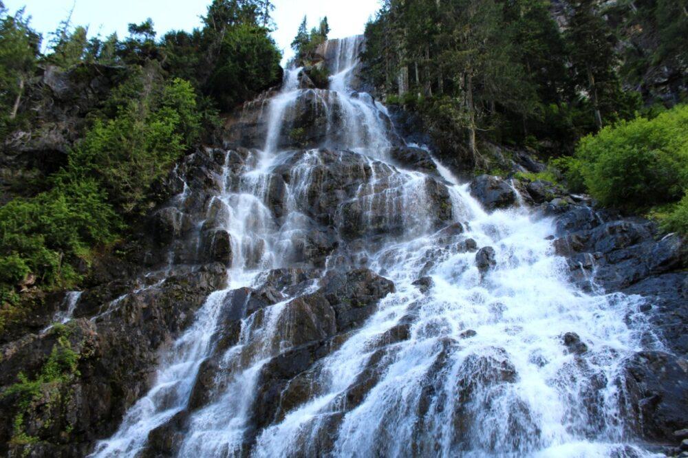 Cascading waterfall from below