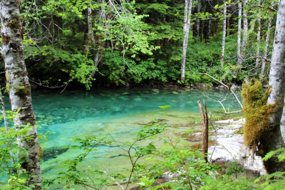 Deep aquamarine river next to the trail