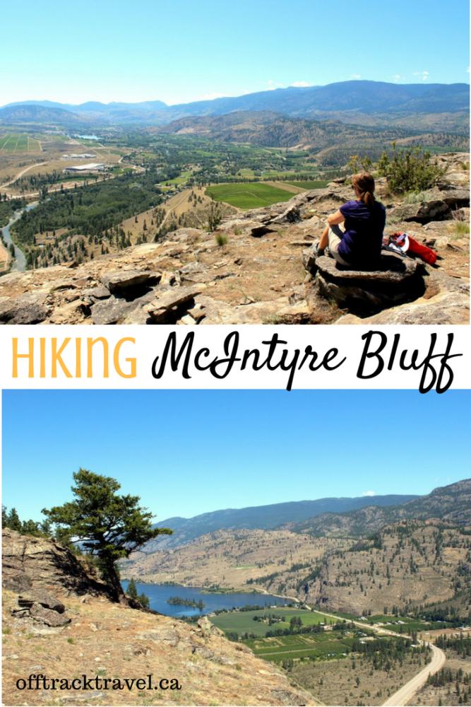 "Named after ""Uncle Pete"" McIntyre who once lived at the base, this striking cliff rises 300 metres above the nearby road and beautiful Vaseux Lake. The hike to the top is a relatively quick 2-3 hours and provides wonderful panoramas of the Okanagan Valley. Hiking McIntyre Bluff is a must do when touring this area of British Columbia! offtracktravel.ca"