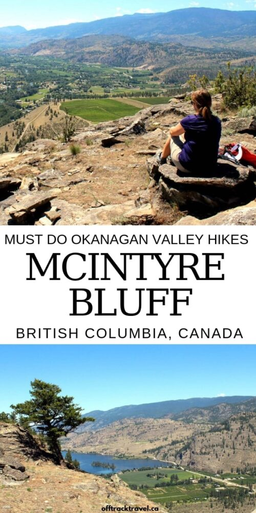 Striking McIntyre Bluff rises 300m above beautiful Vaseux Lake, providing awesome panoramic views of vineyards, orchards and arid lands to those who take the time to hike it. As long as you go early in the day, the McIntyre Bluff trail is a must do Okanagan Valley hike! offtracktravel.ca