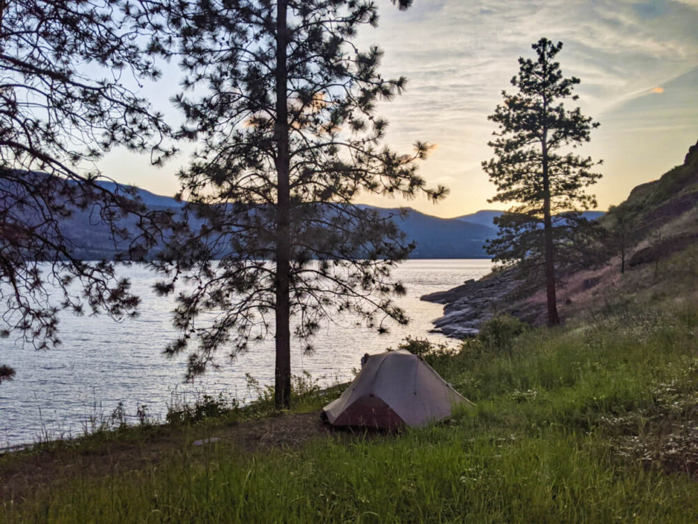 Grey tent set up in grassy area above beach at Buchan Bay, with sunset views of Okanagan Lake