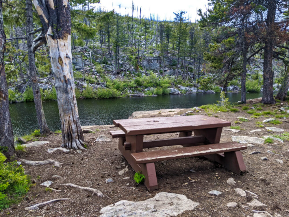 Worn but intact picnic table in foreground placed next to trees, with Divide Lake sitting a few metres below