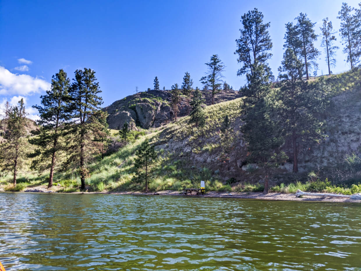 View from kayak of Reluctant Dragon Cove with small, narrow beach and picnic table, backed by hill and handful of trees