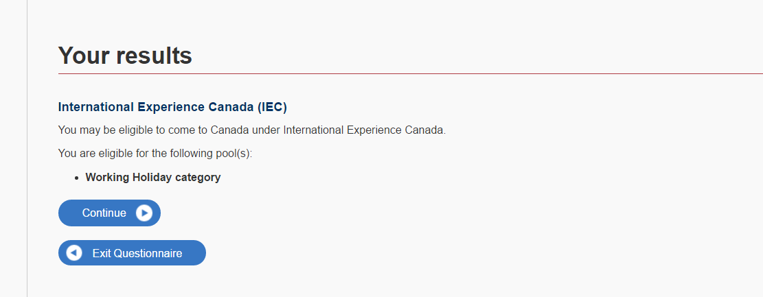 International Experence Canada application