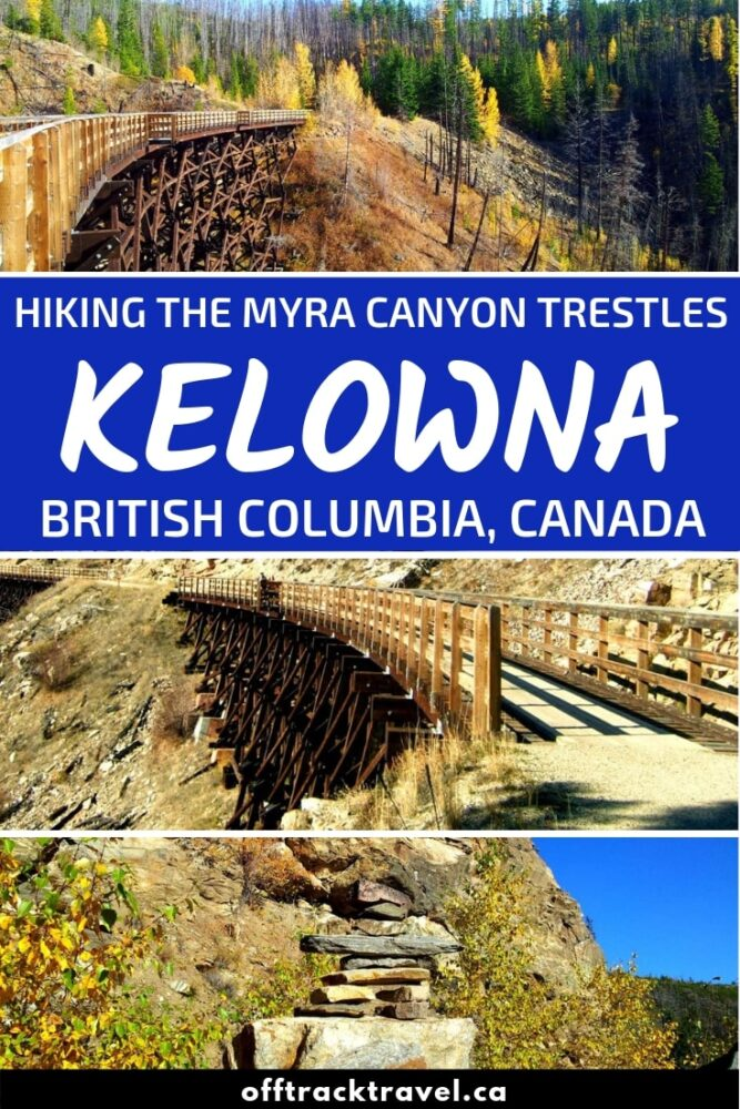 Myra Canyon is home to 16 beautiful historic trestles along the abandoned Kettle Valley Railway. Ranging up to 220m in length, these wooden railway bridges are a sight to behold. The views from them are not half bad either. Hiking the Myra Canyon trestles is definitely not an experience to miss while in the Kelowna area! Click here to read about our hiking experience and everything you need to know to do the same. offtracktravel.ca