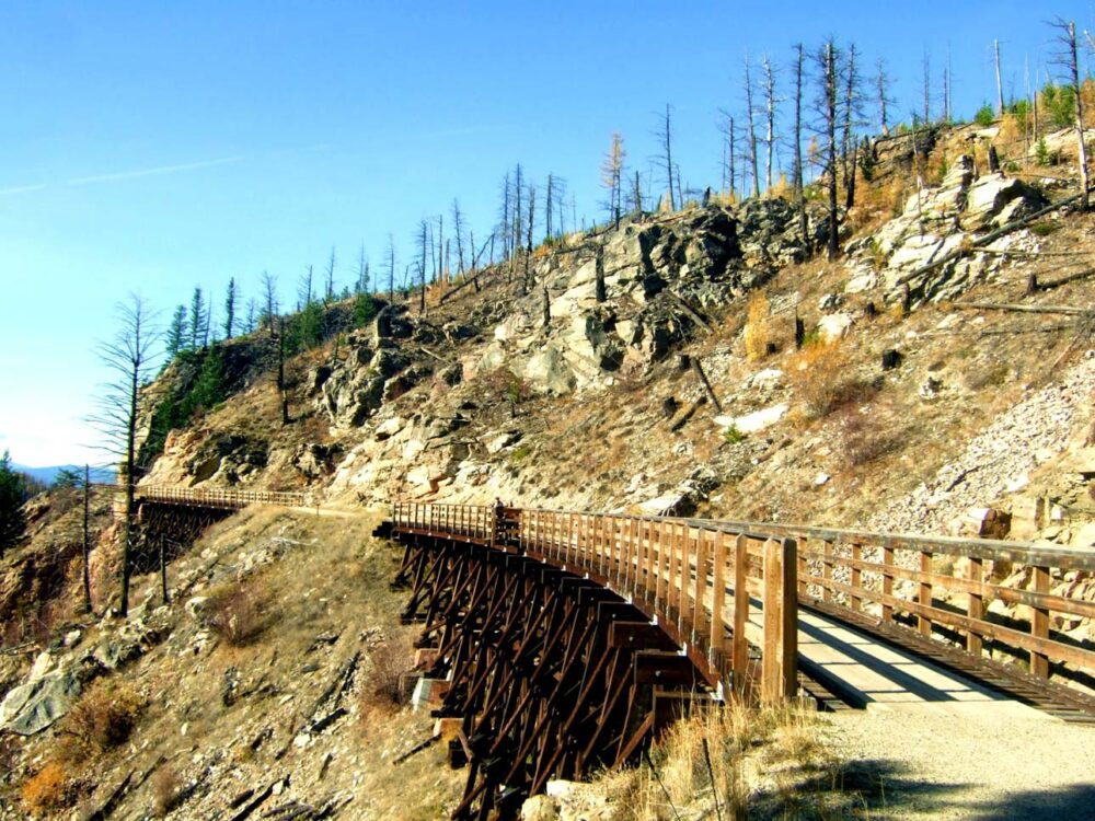 Wooden railway trestle at Myra Canyon near Kelowna