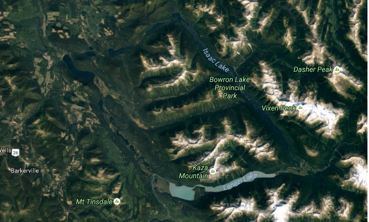 Satellite view of Bowron Lakes Canoe Circuit from above