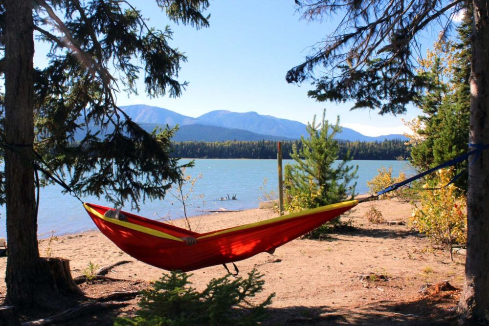 the best day of bowron lakes canoe circuit - hammocking at sandy lake