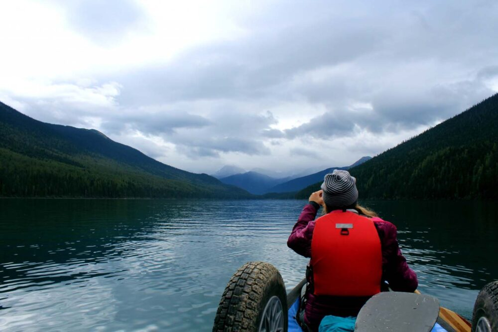 Exploring the backcountry of Northern British Columbia by canoe in Bowron Lakes Provincial Park