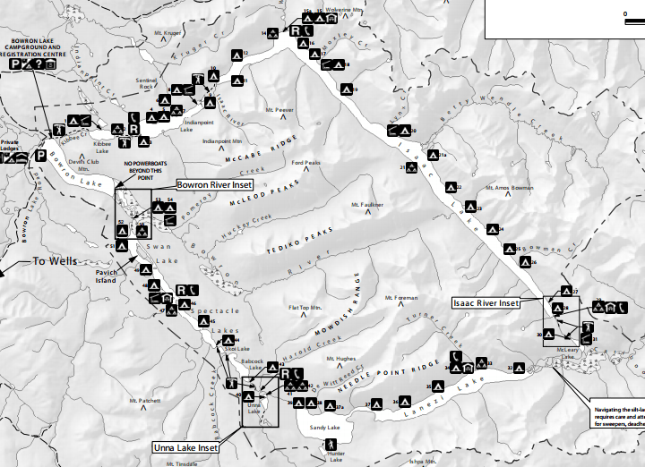 Black and white map of the Bowron Lakes Canoe Circuit