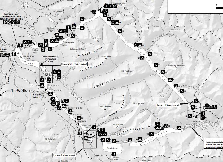 bowron lakes canoe circuit map