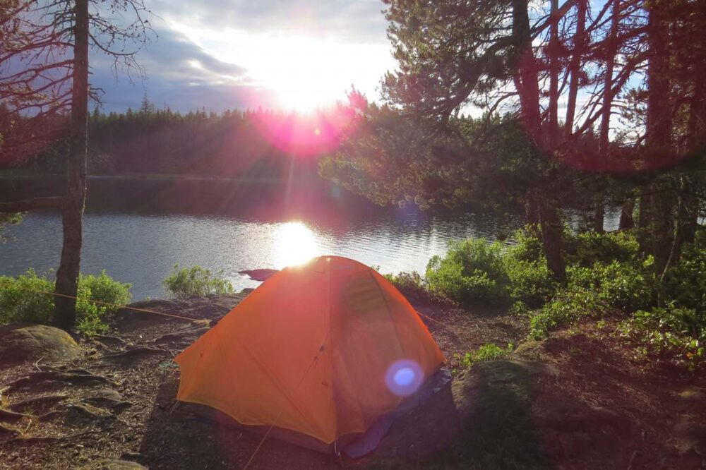 Tent camping on crown land, Vancouver Island