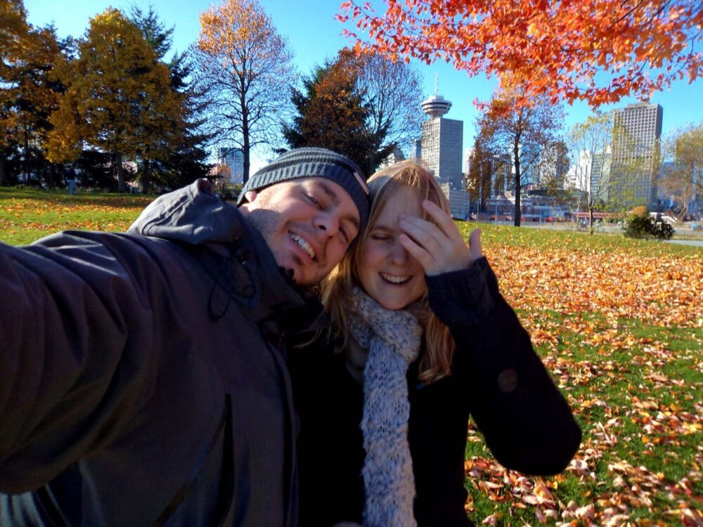 Gemma and JR selfie in Vancouver, autumn 2011