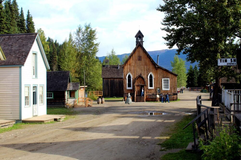 Historic church at the end of Barkerville's Main Street