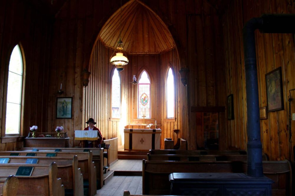 Wooden pews and walls of St. Saviour's Anglican Church