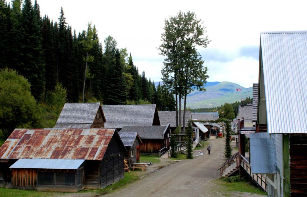 The empty streets of Barkerville, surrounded by historic buildings