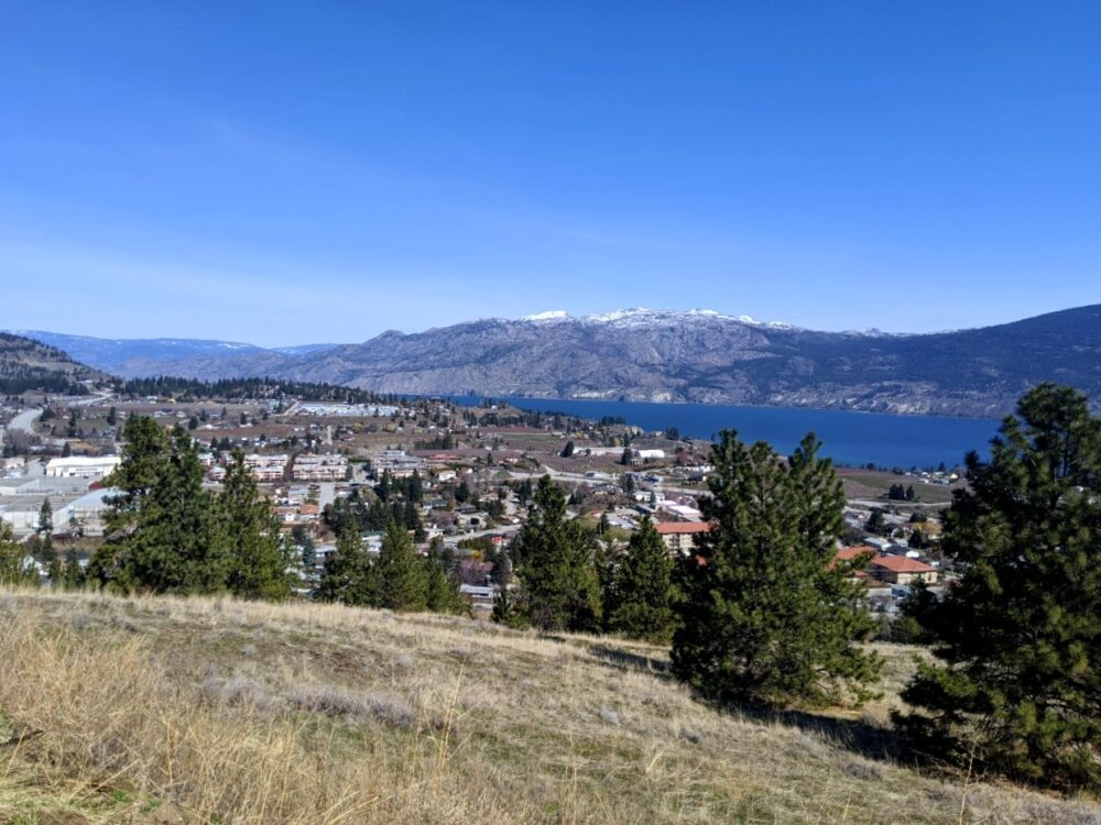 A higher elevation view of Summerland with blocks of houses, Okanagan Lake in the background