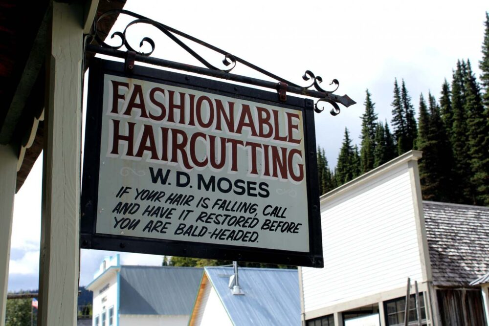 Fashionable haircutting sign in Barkerville, British Columbia