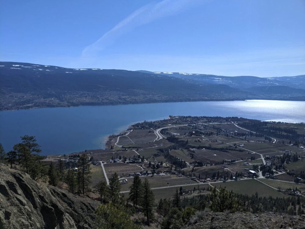 Summit views from Giant's Head Mountain, looking out over Okanagan Lake and Trout Creek area