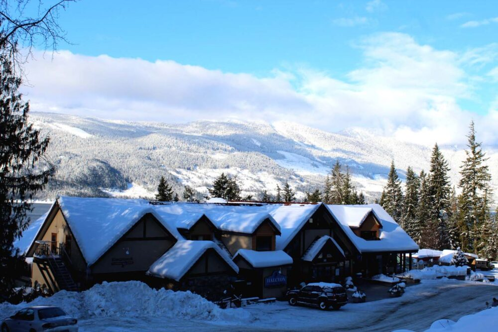 Main lodge and mountain views at Halcyon Hot Springs, Nakusp