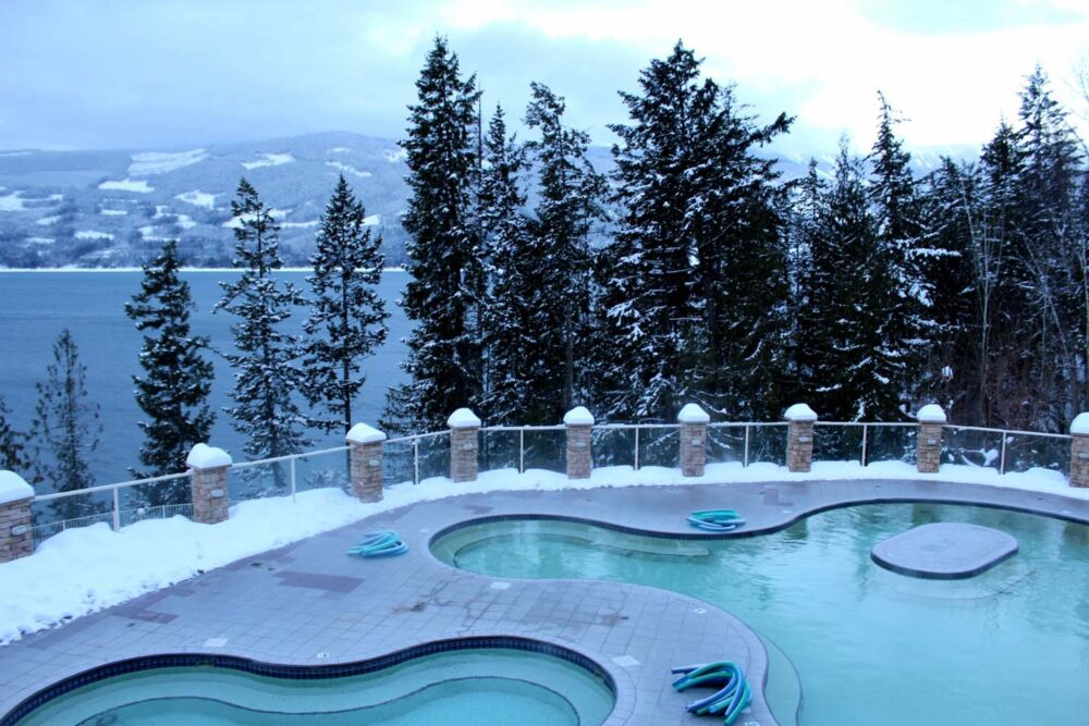 Pool views at Halcyon Hot Springs, Nakusp