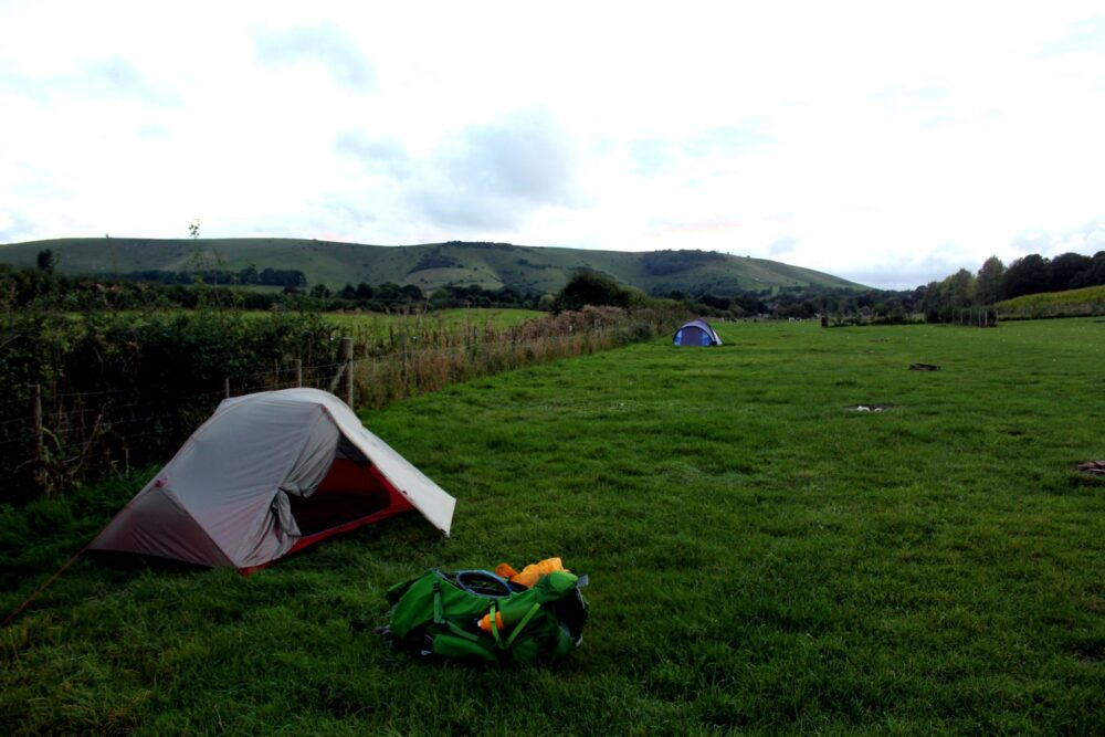 kingston upon lewes camping site with MSR tent