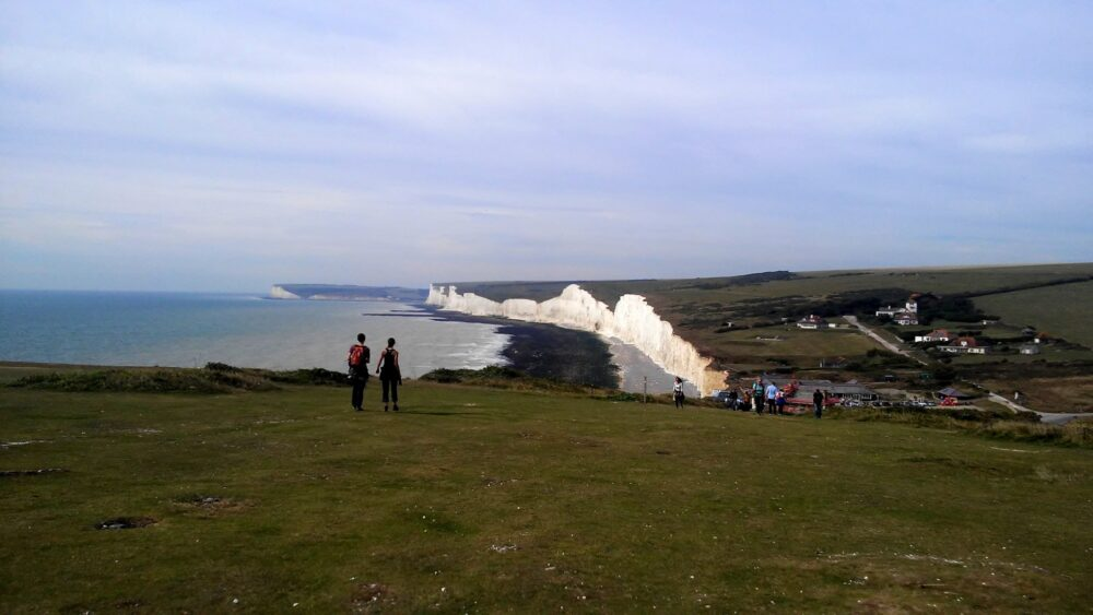 looking back at seven sisters, Berling gap south downs way