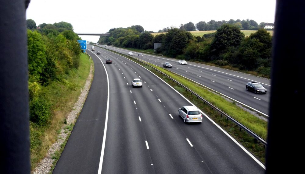 View of motorway from bridge