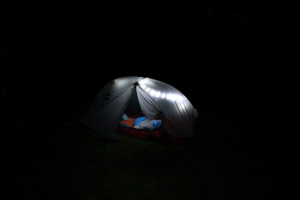 MSR Freelite 2 tent, lit up by tent lights